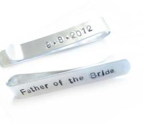 Father of the Bride Groom Tie Clip Personalized Hand Stamped Aluminum Custom Wedding Date Men Dad Gift Keepsake
