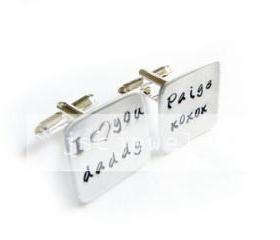 Daddy Square Men Cufflinks Hand Stamped Cuff links Wedding personalized keepsake father Gift Aluminum or Brass