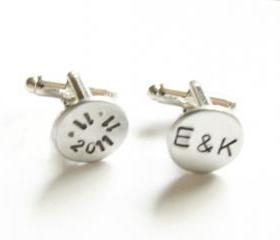 Date Initial Cufflinks Hand Stamped Wedding Cuff links personalized custom gift for him guys wedding birthday