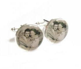 Customize Photo Cufflinks personalized keepsake glass gift for men father cuff links Wedding Birthday