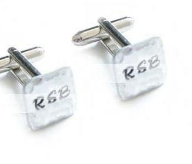 Hammered Square Cufflinks Hand Stamped Initials personalized keepsake gift for him Men Father Wedding custom square cuff links