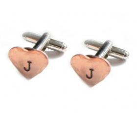 Initial Heart Hammered Cufflinks Hand Stamped Wedding personalized keepsake gift Men custom cuff links Birthday
