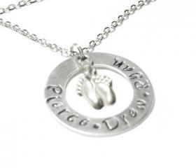 Cute Baby Feet Personalized Hand Stamped Necklace Engraved Pendant Mother gift for birthday wedding