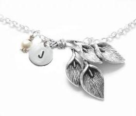 Calla Lily Necklace Silver Chain Swarovski Pearl Charm Pendant jewelry engraved gift wedding birthday