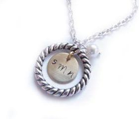 Personalized Hand Stamped Initial Necklace Engraved Circle Pendant gift birthday wedding engrave