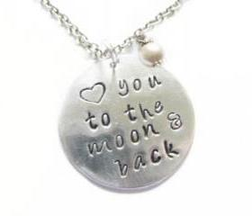 Silver Personalized Necklace Hand Stamped Love you to the moon & back pendant pearl charm engrave birthday wedding