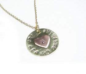 Sunshine Heart Necklace You are my sunshine Hand Stamped Initial Copper Pendant Chain Birthday