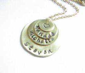 4 Tiers Hand Stamped Necklace Personalized Pendant Chain Birthday Wedding Customize mix metal