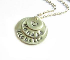 Triple Hand Stamped Necklace Custom Personalized engraved Pendant mother birthday wedding
