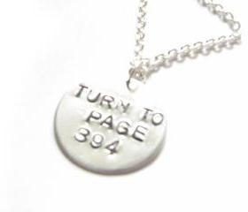 Turn to Page 394 Harry Potter Necklace Hand Stamped pendant chain birthday