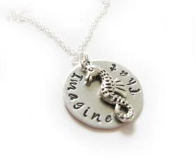 Seahorse Hand Stamped Necklace Personalized Jewelry chain engraved pendant gift