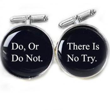 Black Men Star War Cufflinks Do, Or Do Not. There Is No Try Personalized gift men father cuff links wedding birthday