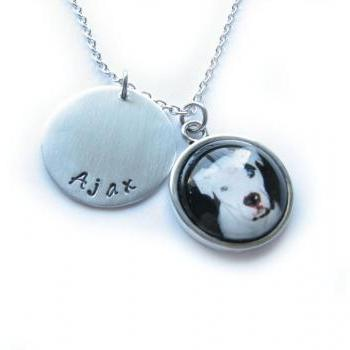 Pet Necklace Personalized Love Your Dog Cat Hand Stamped metal & Glass Pendant Photo Keepsake Memorial Gift Birthday