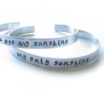 2 You Are My Sunshine Cuff Bracelets Personalized Hand Stamped Engraved Mother Daughter Jewelry Birthday Wedding Graduation