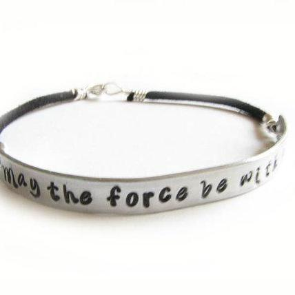 Silver Star Wars Bracelet May The Force Be With You Hand Stamped Bracelet Wire Wrapped Black Leather Suede Jewelry